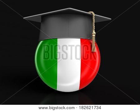 3d Illustration. Graduation cap and Italian flag. Image with clipping path