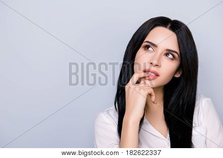 Portrait Of Beautiful Cute Young  Woman In Formalwear With Sensual Lips And Black Hair Fink About Ne