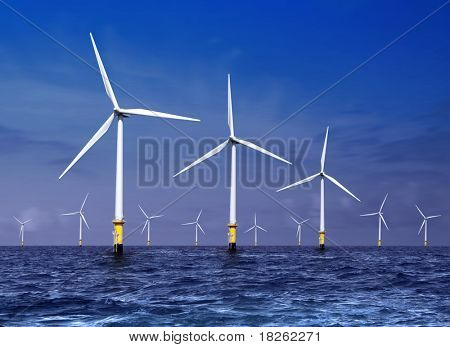 white wind turbine generating electricity on sea