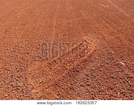 Detail With A Sport Shoe Footprint On A Tennis Clay Court