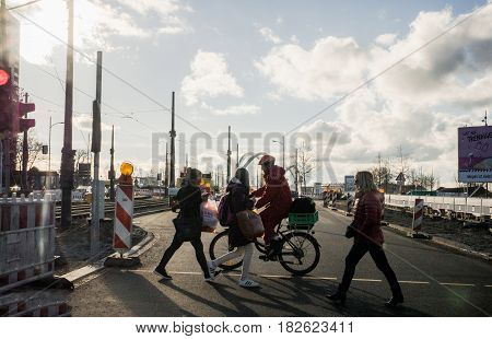KAEHL GERMANY - FEB 3 2017: Driver point of view personal perspective at the pedestrians crossing zebra intersection at the semaphore - road security