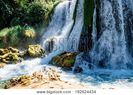 Wonderful View on Kravice Waterfall and Trebizat River in Bosnia and Herzegovina