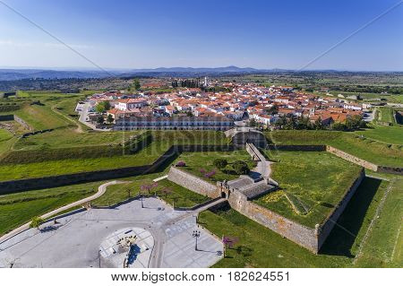 Aerial view of the historic village of Almeida in Portugal; Concept for travel in Portugal