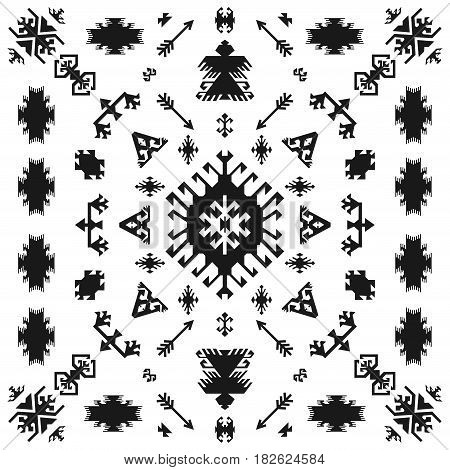 Native American Indian ethnic traditional geometric art with retro design elements and arrows Aztec Navajo tribal style seamless pattern vector illustration background black and white