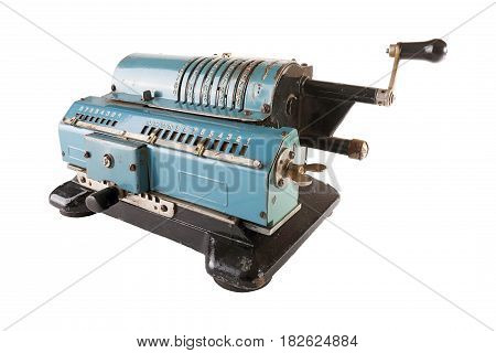 Old blue calculating machine isolated on a white background.