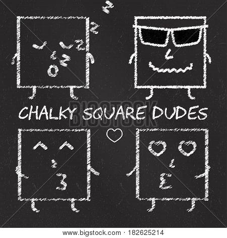 Set of chalk emoticons, blackboard backgound, chalky cool square dudes. Emoji elements.