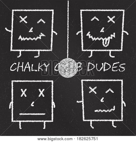 Set of chalk emoticons, blackboard backgound, chalky club square dudes. Emoji elements.