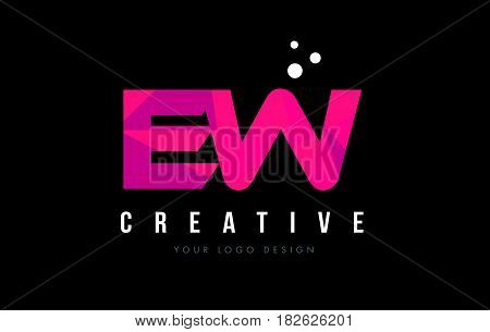 Ew E W Letter Logo With Purple Low Poly Pink Triangles Concept