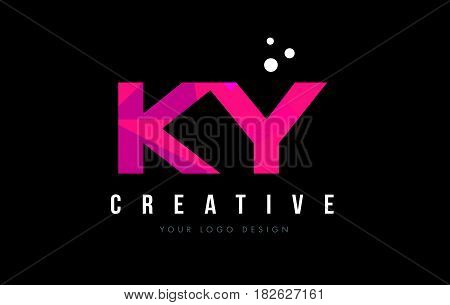 Ky K Y Letter Logo With Purple Low Poly Pink Triangles Concept