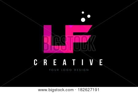 Lf L F Letter Logo With Purple Low Poly Pink Triangles Concept