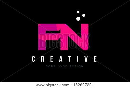 Fn F N Letter Logo With Purple Low Poly Pink Triangles Concept