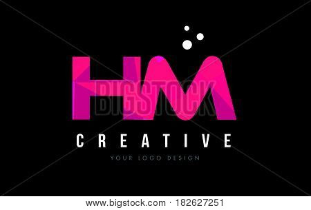 Hm H M Letter Logo With Purple Low Poly Pink Triangles Concept