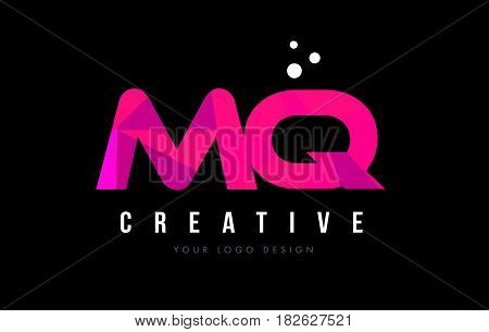 Mq M Q Letter Logo With Purple Low Poly Pink Triangles Concept