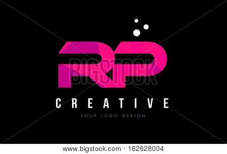 Rp R P Letter Logo With Purple Low Poly Pink Triangles Concept