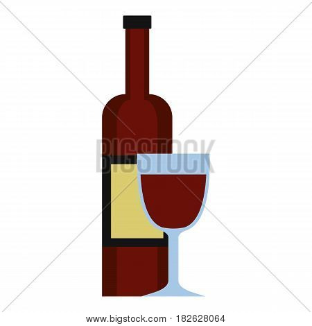 Glass of red wine and a bottle icon flat isolated on white background vector illustration