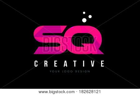Sq S Q Letter Logo With Purple Low Poly Pink Triangles Concept