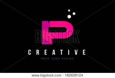 Ip I P Letter Logo With Purple Low Poly Pink Triangles Concept