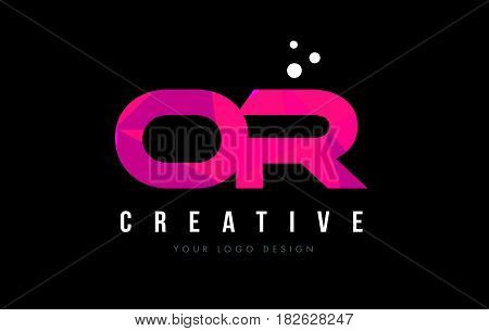 Or O R Letter Logo With Purple Low Poly Pink Triangles Concept