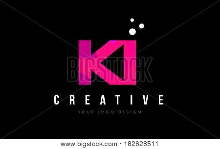 Ki K I Letter Logo With Purple Low Poly Pink Triangles Concept