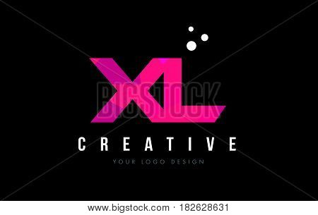 Xl X L Letter Logo With Purple Low Poly Pink Triangles Concept
