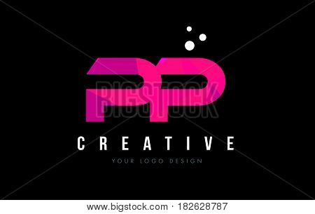 Pp P Letter Logo With Purple Low Poly Pink Triangles Concept
