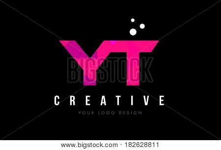 Yt Y T Letter Logo With Purple Low Poly Pink Triangles Concept