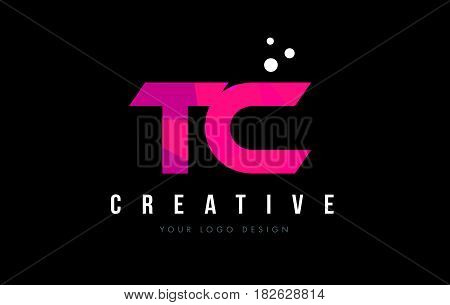 Tc T C Letter Logo With Purple Low Poly Pink Triangles Concept