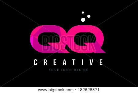 Qq Q Q Letter Logo With Purple Low Poly Pink Triangles Concept