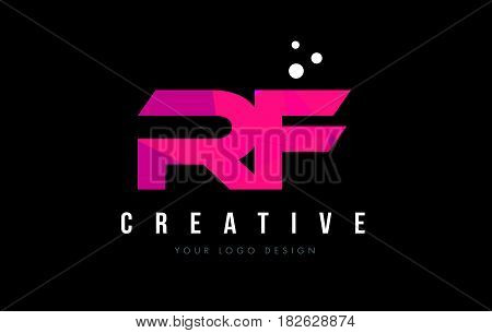 Rf R F Letter Logo With Purple Low Poly Pink Triangles Concept