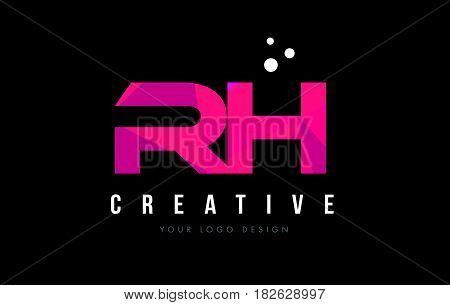 Rh R H Letter Logo With Purple Low Poly Pink Triangles Concept