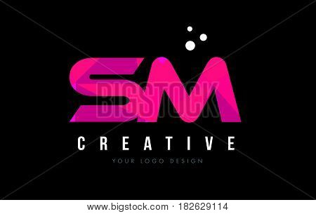 Sm S M Letter Logo With Purple Low Poly Pink Triangles Concept