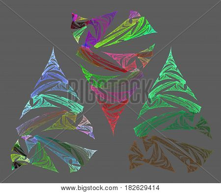 fractal Christmas tree on a gray background