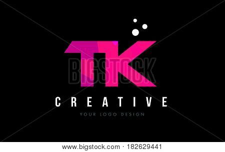 Tk T K Letter Logo With Purple Low Poly Pink Triangles Concept