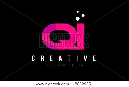 Qi Q I Letter Logo With Purple Low Poly Pink Triangles Concept