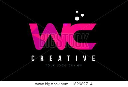 Wc W C Letter Logo With Purple Low Poly Pink Triangles Concept