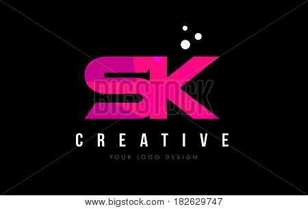 Sk S K Letter Logo With Purple Low Poly Pink Triangles Concept