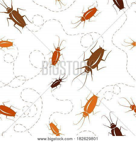 Seamless vector pattern - sprawling cockroaches with traces.