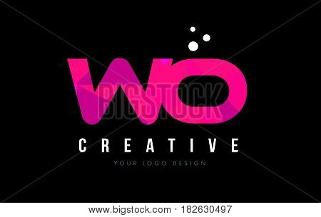 Wo W O Letter Logo With Purple Low Poly Pink Triangles Concept