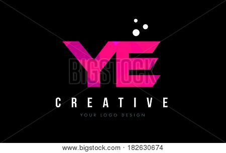 Ye Y E Letter Logo With Purple Low Poly Pink Triangles Concept