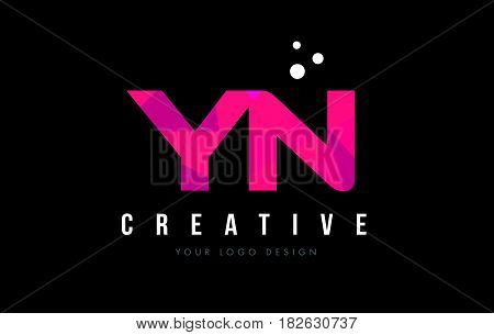 Yn Y N Letter Logo With Purple Low Poly Pink Triangles Concept