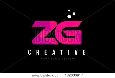 Zg Z G Letter Logo With Purple Low Poly Pink Triangles Concept
