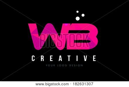 Wb W B Letter Logo With Purple Low Poly Pink Triangles Concept