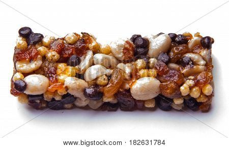 Granola bar on white background. tasty muesli