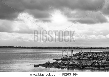 Sea Landscape In Black And White