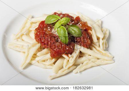 Capunti alla puttanesca an italian pasta dish