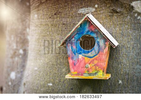 Colorful bird house in childish colors hanging on a tree in a garden in the spring