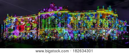 BERLIN - OCTOBER 08 2016: Festival of lights. The building of the Law Faculty of the Humboldt University in festive illumination. Panoramic view.