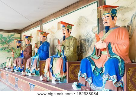 Sichuan, China - Mar 28 2015: Statues At Confucius Temple Of Zhaohua Ancient Town. A Famous Historic