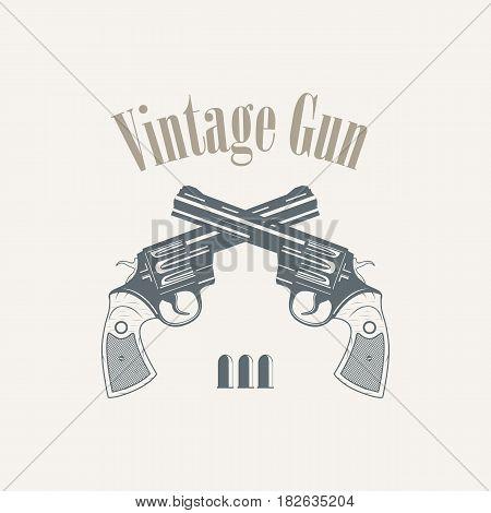 revolvers gun pistols vintage style - vector illustration