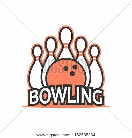 Bowling club logo vector in vintage style